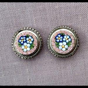 Vintage Micro Mosaic Italian Glass Earrings Pink